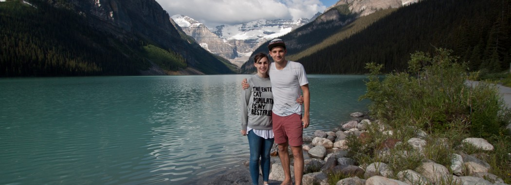 Belle and Bryce on Lake Louise